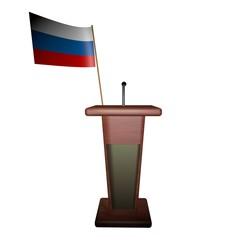 Podium and Russia flag