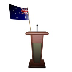 Podium and Australia flag