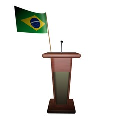 Podium and Brazil flag