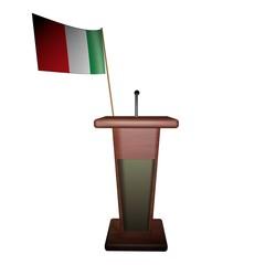 Podium and Italy flag
