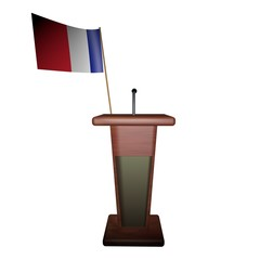 Podium and France flag