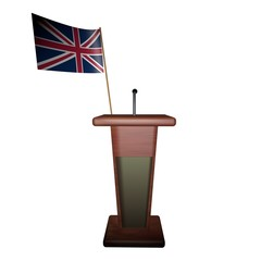 Podium and UK flag