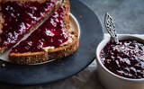 black currant jam on toast