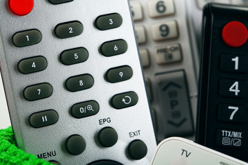 Many remote control devices close-up