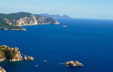 view to peninsula and bay at Corfu island, Greece.