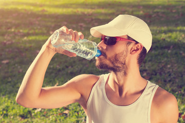 Thirsty after jogging/exercising.