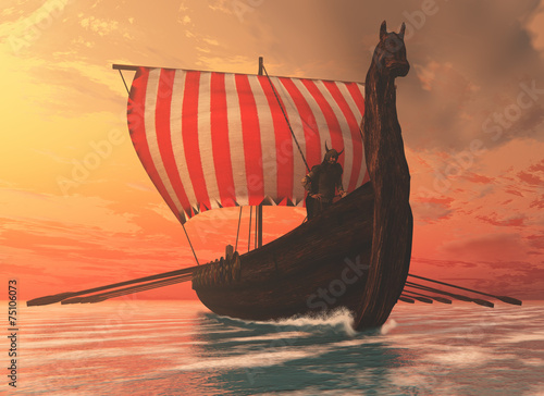 Viking Man and Longship - 75106073