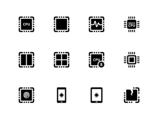 CPU icons set. (central processing unit).