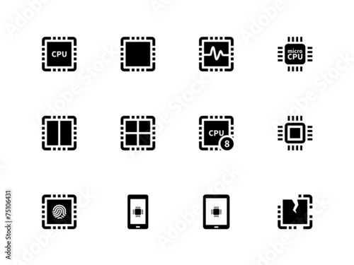 CPU icons set. (central processing unit). - 75106431