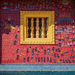 Glass mosaic at wat xieng thong temple wall, Luang prabang,Laos