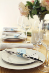 Table setting with blurred background for text space