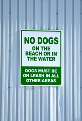 No dogs on the beach or in water signage