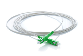 Fiber optic cable on white background