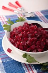Bowl with beetroot salsa