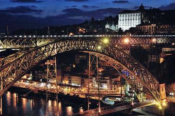 Arch metallic bridge over Douro River in Porto at night