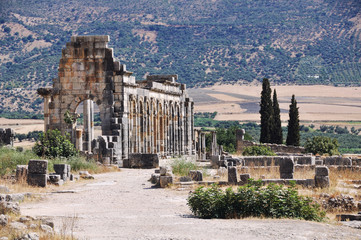 Volubilis Capitol - Roman archaeological site near Meknes