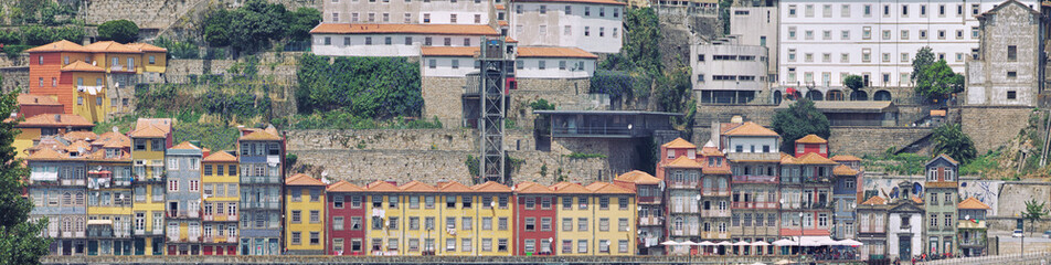 Panoramic view of colorful old houses of Porto