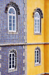 Colorful walls of Pena Castle, Sintra, Portugal