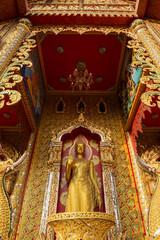 Golden Buddha statue in temple ,Thailand