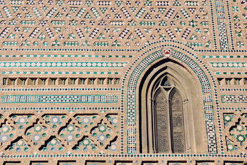 Decorated wall of an old Church in Malaga, Spain
