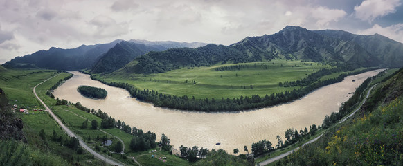 River Katun. Panoramic view with Altai mountain range