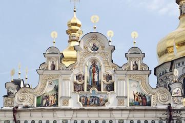 Close view of facade of Kiev Pechersk Lavra, Ukraine