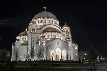 The Cathedral of Saint Sava in Belgrade at night