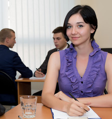 Nice smiling female corporate employee
