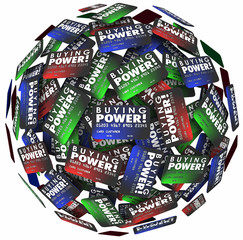Buying Power Words Credit Cards Sphere Borrow Money Loan Debt