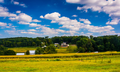 View of farm fields in rural York County, Pennsylvania.