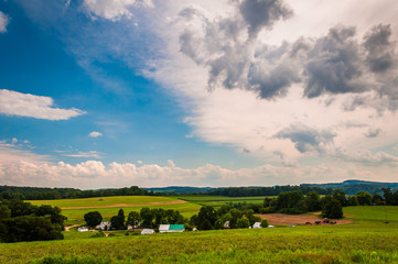 View of farmland and rolling hills in rural York County, Pennsyl