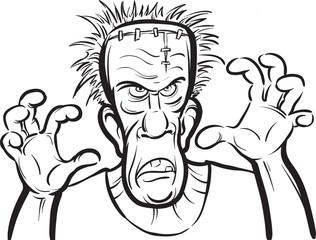 whiteboard drawing - Halloween spooky monster cartoon character
