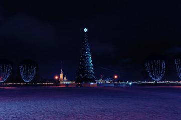 Christmas tree on the spit of Vasilevsky island in St. Petersbur
