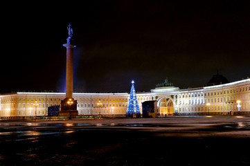 Night new year view of the Palace square in St. Petersburg, Russ