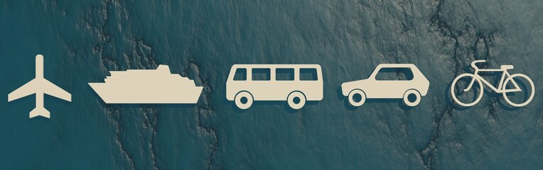 travel related pictogram, different kind of the vehicle