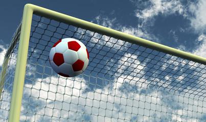 Soccer Foot Ball towards the goal net