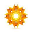 Bright sun in the geometric style icon vector