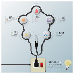 Light Bulb Shape Electric Wire Line Diagram Business Infographic