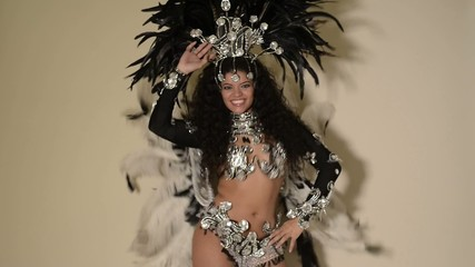 Beautiful samba dancer wearing typical black costume