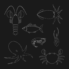 Chalk seafood icons set