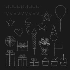 Chalk birthday party icons set