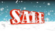 sale text and 3d snowflakes flying