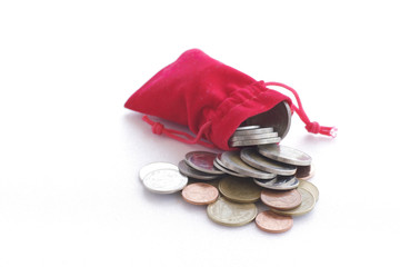.red Pocket of coins - Stock Image