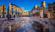 canvas print picture - Placa del Rei and Palau Reial Major in Barcelona, Catalynia, Spa