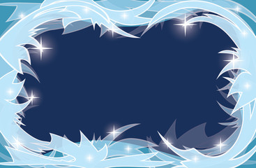 blue transparent background with frosty frame - vector