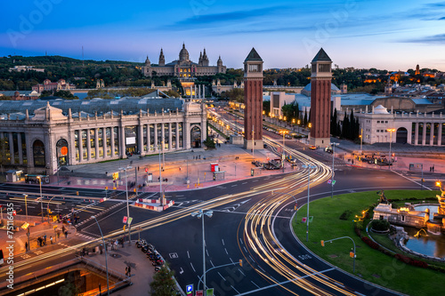canvas print picture Aerial View on Placa Espanya and Montjuic Hill with National Art