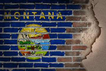Dark brick wall with plaster - Montana