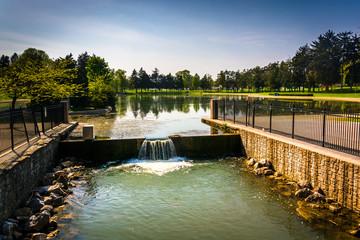 The spillway at Kiwanis Lake in York, Pennsylvania.