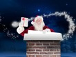 Composite image of santa shows a present while holding sign