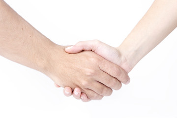 Man and woman shaking hands, isolated on white